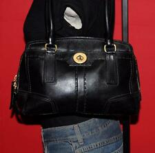 COACH Black Leather HAMPTONS TurnLock Satchel Purse Tote Bag 11539