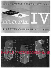 Sawyers Mark IV Camera Instruction Manual: 1958-60