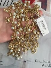 """Tory Burch necklace 32"""" Long 16k Gold Plated 100% Authentic Pearl NEW$275"""
