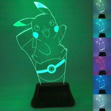 Pokemon GO Pikachu 3D LED Nightlight 7 Color Touch Control Desk Light Table Lamp