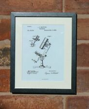 USA Patent Drawing MONOCULAR MICROSCOPE lens scientist MOUNTED PRINT 1883 Gift