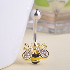 Navel Belly Bars Dangly Body Piercing Belly Button ring crystal gold plated bee