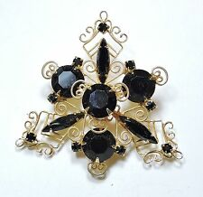 Vintage Black Rhinestone and Filigree Brooch Pin  AU1610216