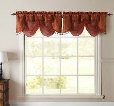 New Kasbah Cinnamon Terracotta Rust Jacquard w Sheer Window Valance Curtain