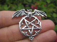 925 Sterling Silver Wicca Inverted Bat Pentagram Pendant Necklace A32