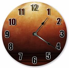 """10.5"""" BROWN ORANGE ABSTRACT CLOCK Large 10.5"""" Wall Clock Home Décor Clock - 3143"""