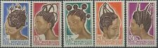 1967 CENTRAFRIQUE / REP. CENTRAFRICAINE N°89/93** coiffures, Hairstyles MNH