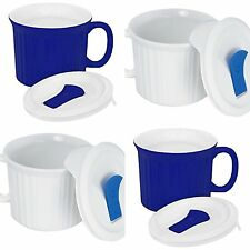 Corningware Pop in Mugs Stoneware 4Pk Mugs with Lids Plastic Vented 20 Oz Each