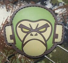 ANGRY MONKEY HEAD LOGO RUBBER PVC MILSPEC FOREST VELCRO® BRAND FASTENER PATCH