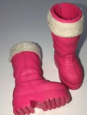 Barbie Hot Pink Moon Fuchsia Boots White Faux Fur Winter Snow Skiing Shoes