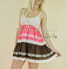 Coral Brown TIERED BOHO LACE Crochet Sleeveless Peasant Babydoll Hippie Dress L