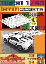 DECAL 1/43 FERRARI 308 GTB F.ORMEZZANO R.SANREMO 1983 (05)