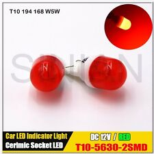 2x T10 W5W Bright Red Refract Ceramics LED Wedge Light Dome Reading Map Light