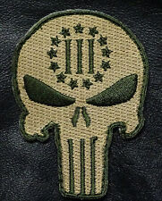 PUNISHER SKULL 3 Percenter MILITARY 3.5 INCH THREE 3% NRA MILITIA HOOK PATCH