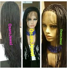 Long black,  micro braided  lace wig. Neat braids.  With baby hair.