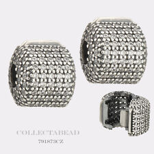 Authentic Pandora Sterling Silver Pave Barrel Clips (2) 791873CZ