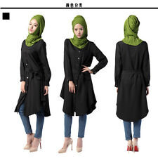 Kaftan Abaya Jilbab Islamic Muslim Cocktail Womens Long Sleeve Shirt Maxi Dress