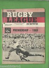 #QQ. THE RUGBY LEAGUE NEWS, 9-10th August 1969, Souths vs St. George Cover