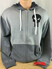 NEW Mens Medium Marvel Punisher Full Zip Fleece Full Zip Hoodie Heather Gray NWT