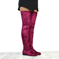 WOMENS FLAT THIGH HIGH VELVET LADIES TALL STRETCH OVER THE KNEE HIGH BOOTS SIZE