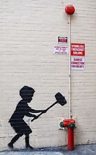 "Banksy, Hammer Boy, 10""x16"", Graffiti Art, Canvas Print"