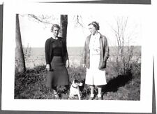 Vintage Photograph 1939 Jack Russell Terrier Dog Canada Lake Winnipeg Girl Photo