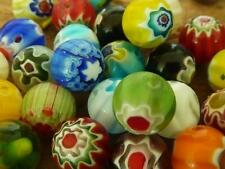 50 pce Vibrant Multi-Coloured Round Millefiori Glass Beads 8mm