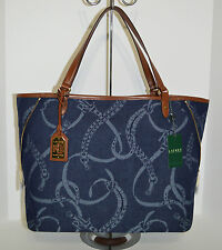 Lauren Ralph Lauren Peyton Large Denim Tote/Bag/Purse Brand New With Tag