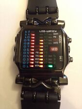 Led Binary Digital Watch Mens Fashion Casual Sport Wrist Watches Black UK SELLER