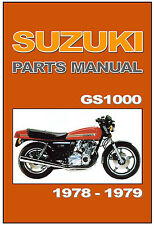 SUZUKI Parts Manual GS1000 GS1000E 1978 and 1979 Replacement Spares Catalog List