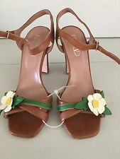 Valentino Red Ankle Strap Sandal Open Toe Chunky Heel Size 7/37 Leather Daisy