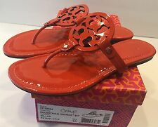 Tory Burch Miller Equestrian Orange Patent Leather Thongs Sandals Flats Sz 10 M