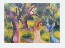 August Macke Mädchen mit blauen Vögeln Poster Kunstdruck Bild Lichtdruck 66x86cm