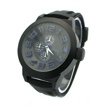 Black Silicone Men's Watch Geneva Design Stainless Steel Face New