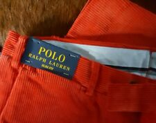 New Polo Ralph Lauren Mens Slim Fit Red Corduroy Flat Front Slacks Pant Sz 28x30
