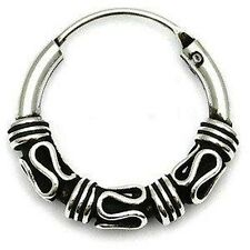 MENS 925 STERLING SILVER BALI STYLE HOOP/SLEEPER 12.5mm x 2mm SINGLE EARRING