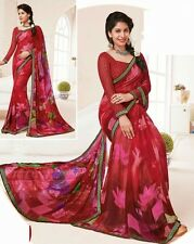 Stylist Multi Color Printed Chiffon Saree with a Blouse D.No MFK155