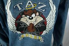 90s TAZ ANGEL Warner Bros. Looney Tunes Mens XL Leather Collar Jean Jacket MINT