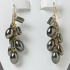 Chunky Gold Plated with Gunmetal Drops Dangle Earrings