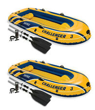 Set Of 2 Intex Challenger 3 Inflatable Boat Set with Pump and Oars | 2 x 68