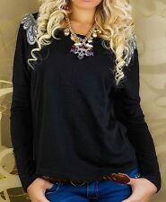 SEXY Miss Long Shirt Pulli Schulter Verzierung 34/36/38 NEU schwarz TOP Style