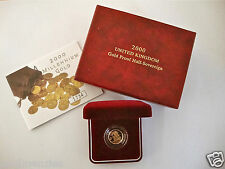 2000 ROYAL MINT ST GEORGE SOLID 22K GOLD PROOF HALF SOVEREIGN COIN BOX COA