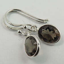 Amazing Little Earrings Natural SMOKY QUARTZ Gemstone 925 Solid Sterling Silver