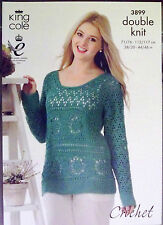 "King Cole DK Crochet Patrón señoras Sweater Jumper 28 "" - 46"" 3899"