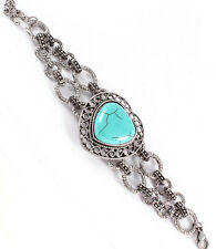 Antique Silver Tone Turquoise Stone Heart Adjustable Bracelet - B09M
