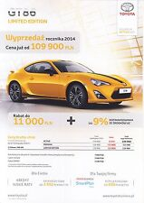 Toyota GT86 10 / 2014 catalogue brochure Limited Giallo Special