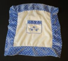 Princess Soft Toys White blue polka dots truck pocket baby Security Blanket 16""