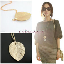 New Fashion Womens Charm Golden Leaf Pendant Necklace Long Sweater Chain Jewelry