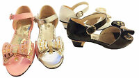 Girls Low Heel Wedding Dress Party Bridesmaid Velcro Sandals Shoes Size 12-3