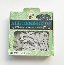 DCWV All Dressed Up Chipboard Embellishments - Silver Alphabet